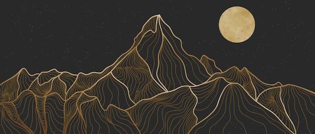 黄金の山の線画、抽象的な山の現代的な美的背景の風景。プリントアート、カバー、招待状の背景、ファブリックに使用します。ベクトルイラスト