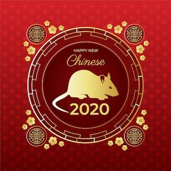Золотая мышь на красном фоне градиента китайский новый год