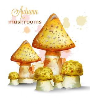 Золотые грибы акварель