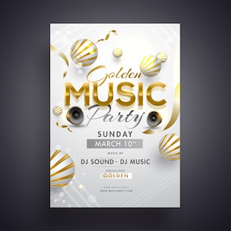 Golden music party invitation card design with woofers and 3d ab