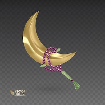 Золотой, мусульманский месяц в окружении четок, реалистичные четки, висящие на золотой луне, иллюстрация на темном фоне