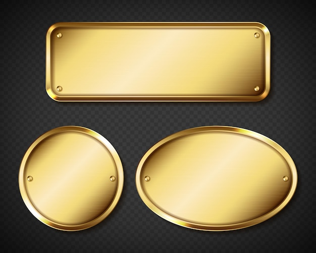 Golden name plaques set