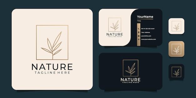 Золотая природа минималистичный лист цветок логотип