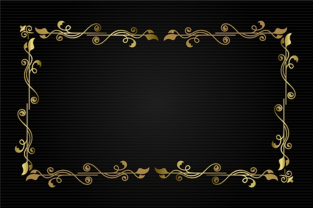 Golden nature ornamental border frame