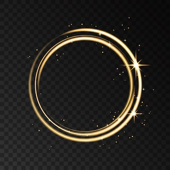 Golden neon ring lights effect isolated