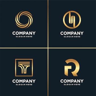 골든 뉴 로고 컬렉션, 레터, 시공, 비즈니스, 금융, 골드 프리미엄