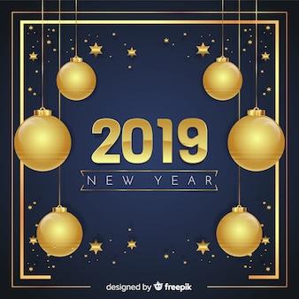 Golden new year 2019 background