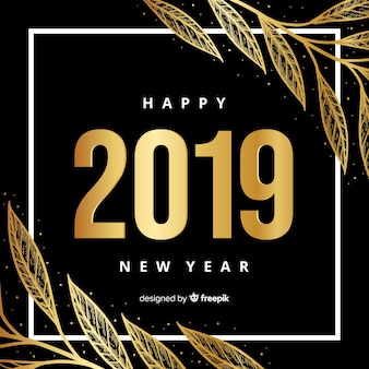 Golden new year 2019 background