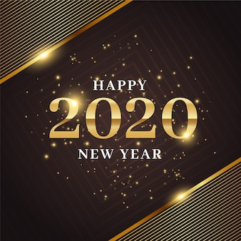 Golden new year 2020 background concept