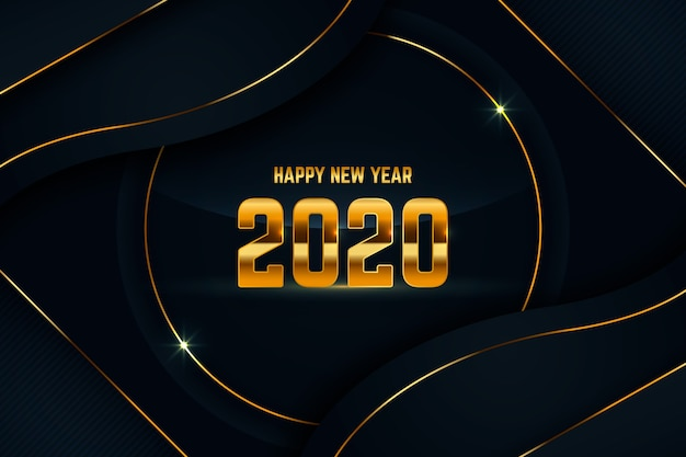 Golden new year 2020 background