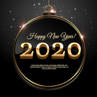 Golden new year 2020 in a christmas ball