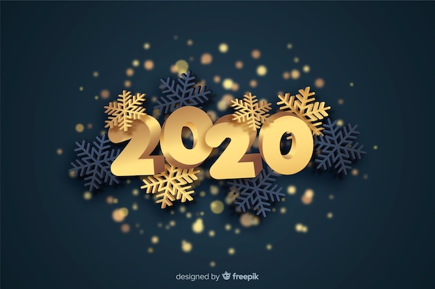 Golden new year 2020 concept