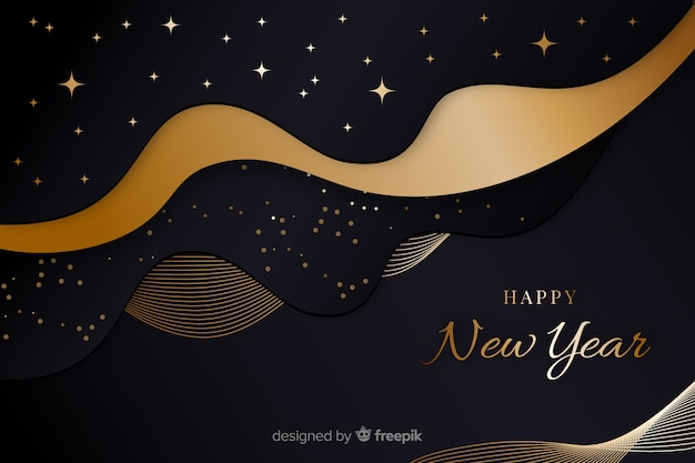 Golden new year 2020 and starry night