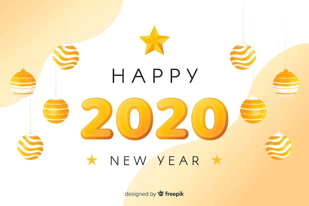 Golden new year 2020 with christmas balls