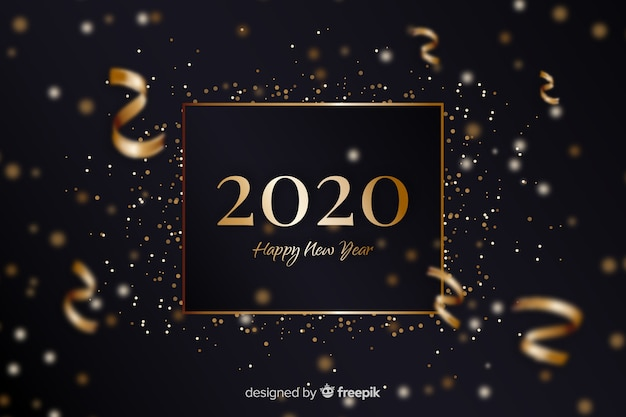 Golden new year 2020 with confetti