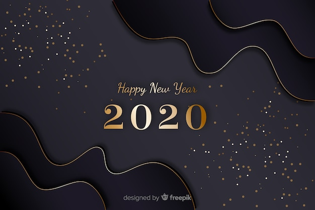 Golden new year 2020 with wave frames