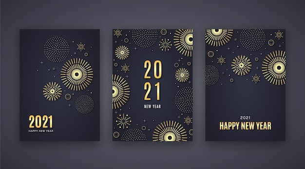 Golden new year 2021 cards