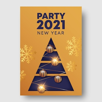 Шаблон флаера для вечеринки золотой новый год 2021