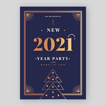 Golden new year 2021 party flyer template