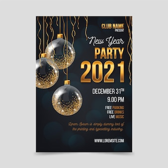 Шаблон плаката вечеринки золотой новый год 2021