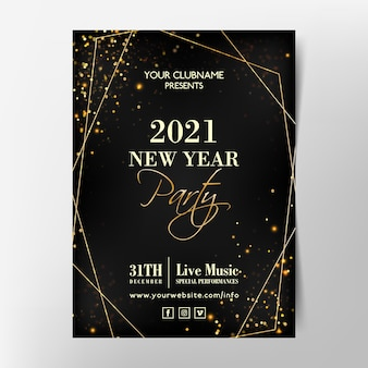 Golden new year 2021 party poster template