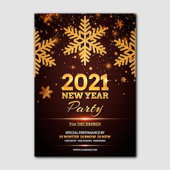 Modello di manifesto festa d'oro nuovo anno 2021
