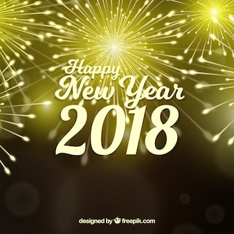 Golden new year background with fireworks