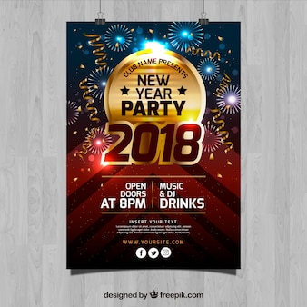 Golden new year party flyer template