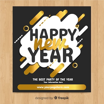 Golden new year party template