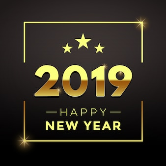 Golden new year with black background