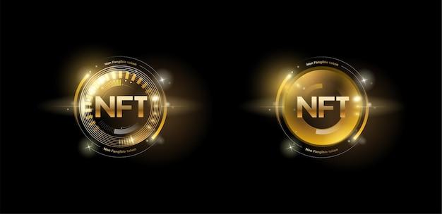 Набор золотых жетонов nft с эффектом блеска. незаменяемые токены.