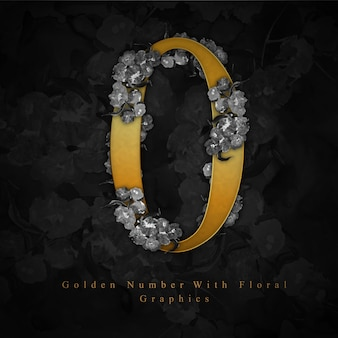 Golden number 0 watercolor floral background