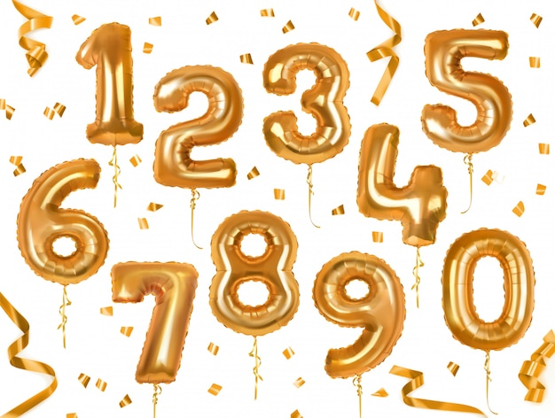 Golden number toy balloons