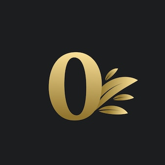 Golden number zero logo with gold leaves. natural number 0 logo with gold leaf.