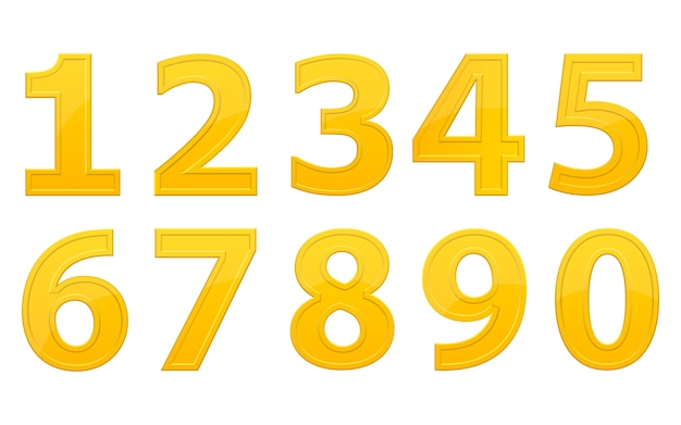 Golden numbers design illustration isolated on white background