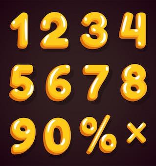 아름답게 보이는 할인 광고판의 황금 숫자.