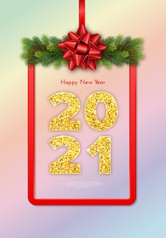 Golden numbers . holiday gift card happy new year with fir tree branches garland, red frame and bow