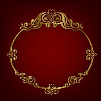 Золотая овальная рамка античного классического стиля