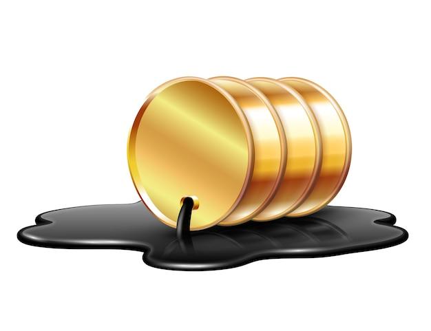 黄金の石油バレルが原油の流出の水たまりに横たわっています。石油産業の危機の概念。白い背景で隔離の図