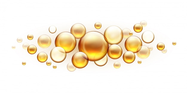 Golden oil bubbles. cosmetic collagen serum, castor argan jojoba essence realistic template isolated on white. vitamins almond with fish oil drops for skin and hair