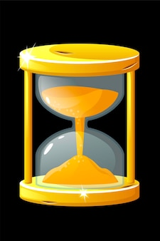 Golden old hourglass for measuring the time for game. vector illustration vintage shiny clock for graphical design.