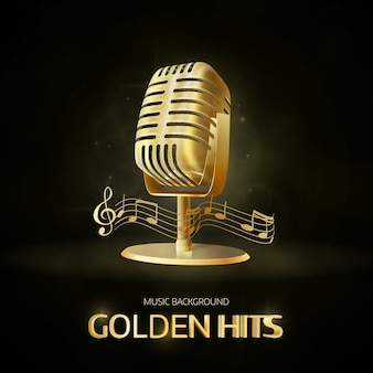 Golden old vintage microphone icon