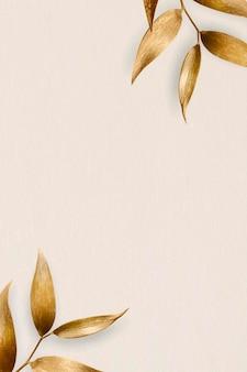 ベージュの背景にゴールデンオリーブの葉のフレーム