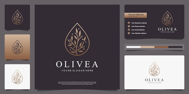 Golden olive tree and water drop luxury logo design and business cards
