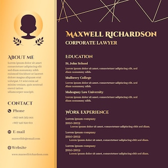 Golden online cv template