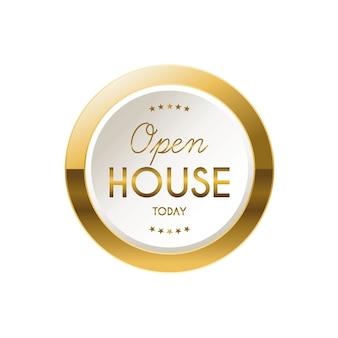 Golden open house label