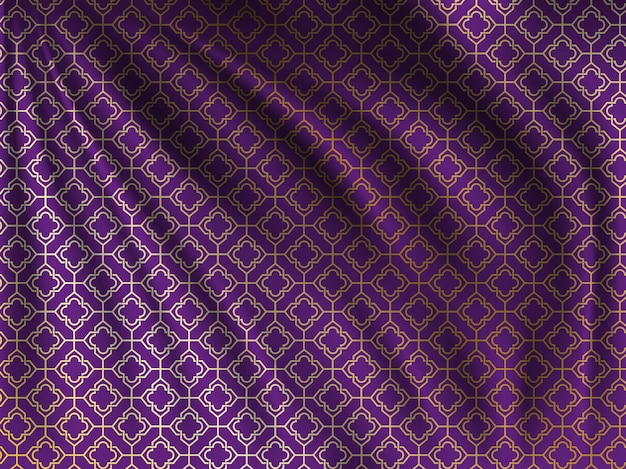 Golden oriental pattern on wavy silk fabric