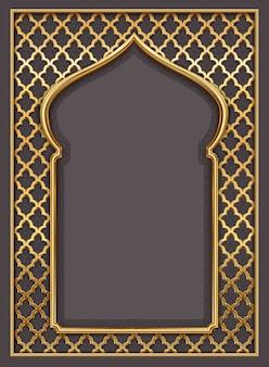 Golden oriental vintage arch frame