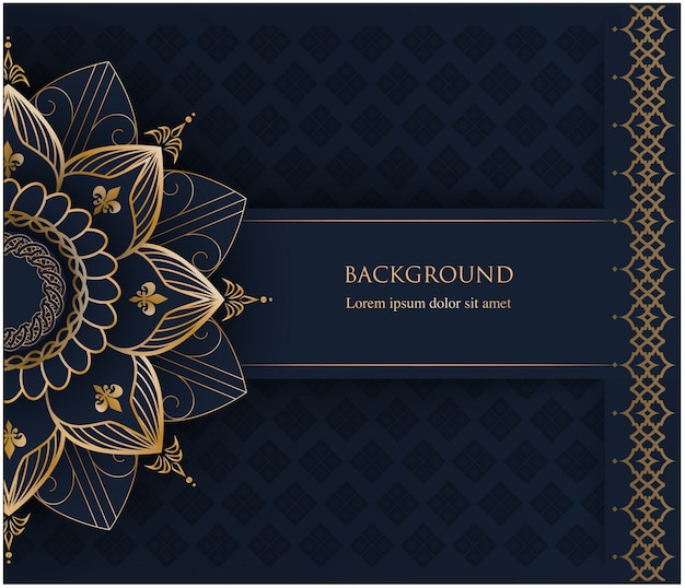 Golden ornament mandala and place for text on navy blue background