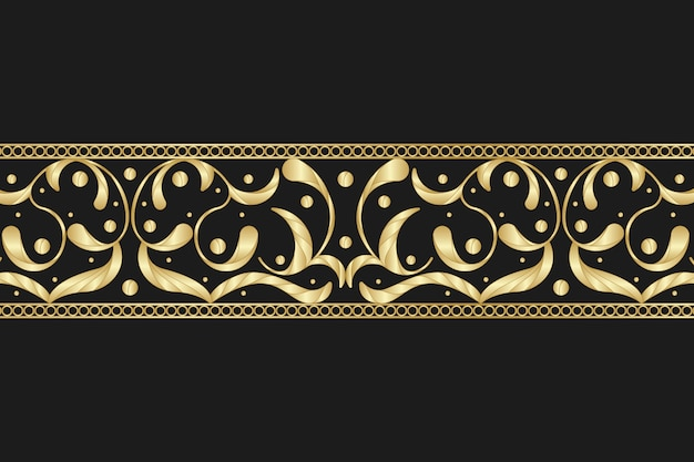 Golden ornamental border on black background